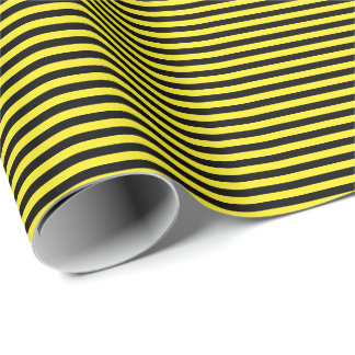 Thin Black and Yellow Stripes Wrapping Paper