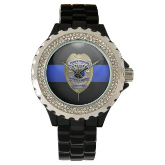 Thin Blue Line - 2-Tone Gold Retired Police Badge Wrist Watches