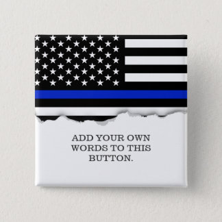 Thin Blue Line American Flag 2 Inch Square Button