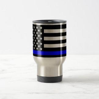 Thin Blue Line American Flag Black and White Travel Mug