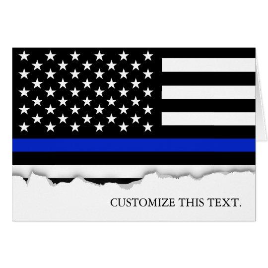 Thin Blue Line American Flag Card