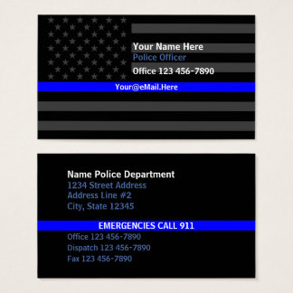 Thin Blue Line American Flag Contact Business Card