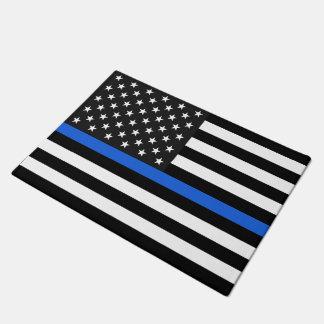 Thin Blue Line American Flag Doormat