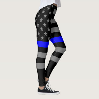 Thin Blue Line American Flag graphic fashion on Leggings