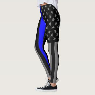 Thin Blue Line American Flag graphic mode on Leggings