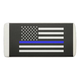 Thin Blue Line American Flag graphic on a Eraser