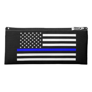 Thin Blue Line American Flag graphic on a Pencil Case