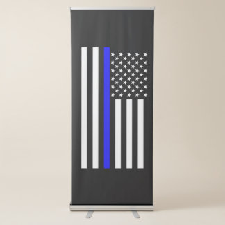 Thin Blue Line American Flag graphic on a Retractable Banner