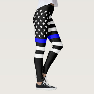 Thin Blue Line American Flag graphic on Leggings