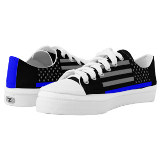 Thin Blue Line American Flag graphic on Low-Top Sneakers