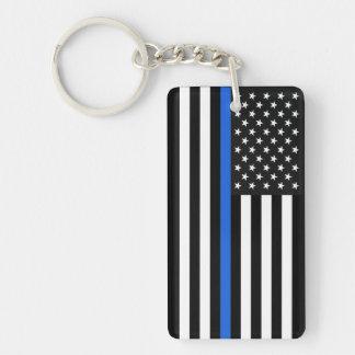 Thin Blue Line American Flag Keychain