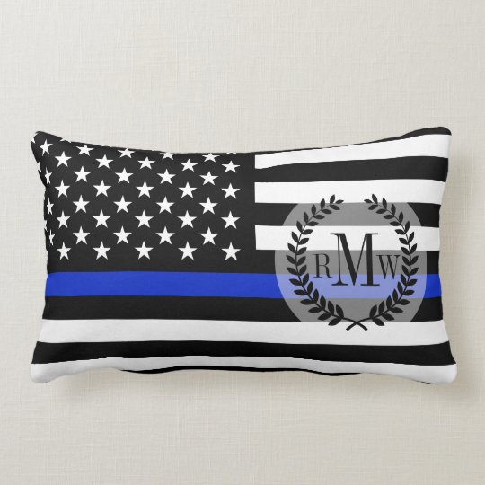 Thin Blue Line American Flag Lumbar Pillow