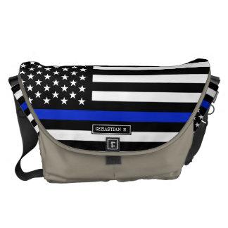 Thin Blue Line American Flag Messenger Bag