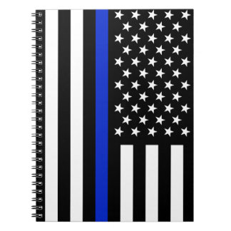Thin Blue Line American Flag Notebook