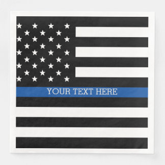 Thin Blue Line - American Flag Paper Dinner Napkin