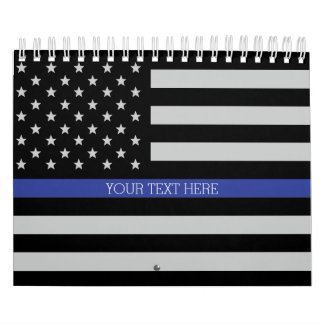 Thin Blue Line - American Flag Personalized Custom Calendars