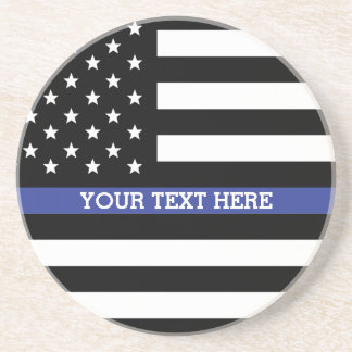 Thin Blue Line - American Flag Personalized Custom Coaster