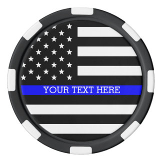 Thin Blue Line - American Flag Personalized Custom Poker Chips