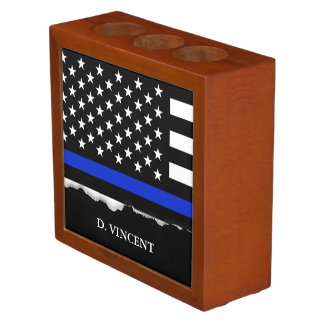 Thin Blue Line American Flag Personalized Desk Organizer