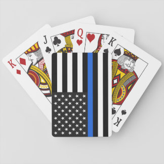 Thin Blue Line American Flag Playing Cards