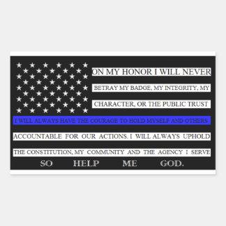 Thin Blue Line American Flag Pledge Sticker