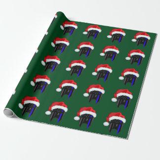 THIN BLUE LINE American Flag Spartan Santa Wrap Wrapping Paper
