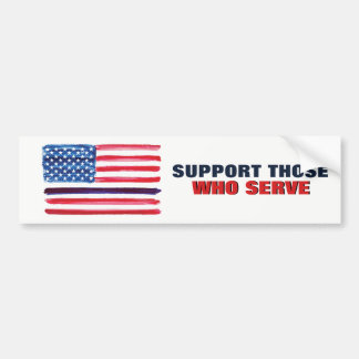 Thin Blue Line American Flag Support Police Bumper Sticker