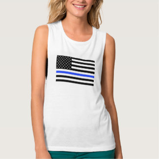 Thin Blue Line American Flag women's shirt