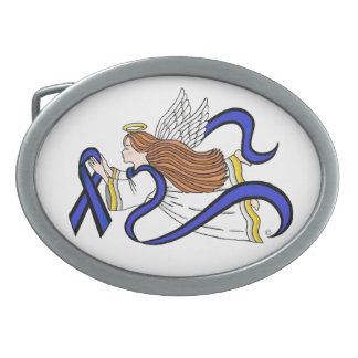 Thin Blue Line Angel Oval Belt Buckles