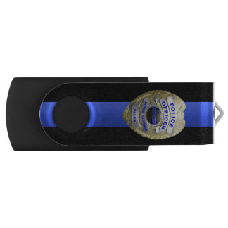 Thin Blue Line Badge USB Flash Drive