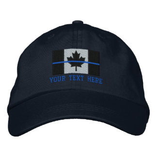 Thin Blue Line Canadian Flag Personalize it Embroidered Hat
