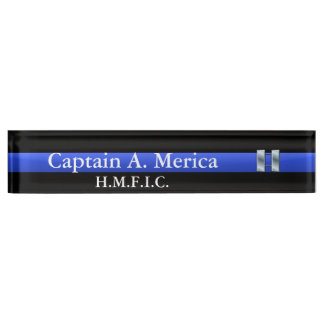 Thin Blue Line - Captain Bars Rank Name Plate