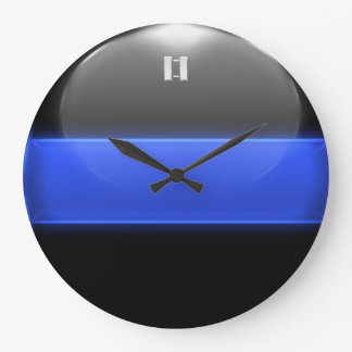 Thin Blue Line Captain Insignia Rank Wall Clock