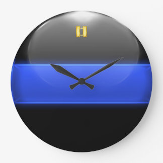 Thin Blue Line Captain Insignia Rank Wallclock