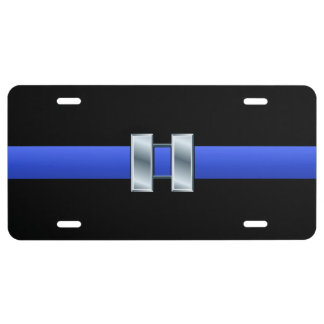 Thin Blue Line - Captain Rank Insignia License Plate