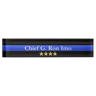 Thin Blue Line - Chief Four Stars Rank Name Plate