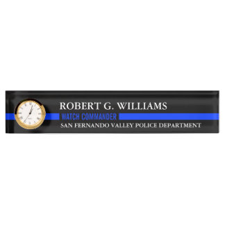 Thin Blue Line Custom Desk Nameplate