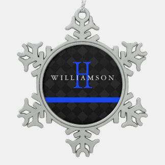 Thin Blue Line Custom Monogram Snowflake Pewter Christmas Ornament