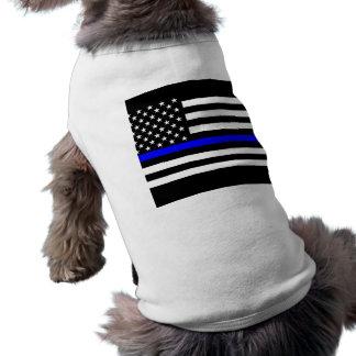 Thin Blue Line Display Decor Dog Tee