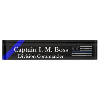 Thin Blue Line - Distressed Tattered Flag Desk Nameplate
