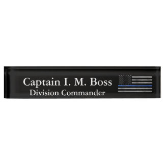 Thin Blue Line - Distressed Tattered Flag Name Plate