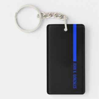 Thin Blue Line Ending With a Custom Text or Name Keychain