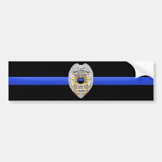 Thin Blue Line Flag & Badge Bumper Sticker