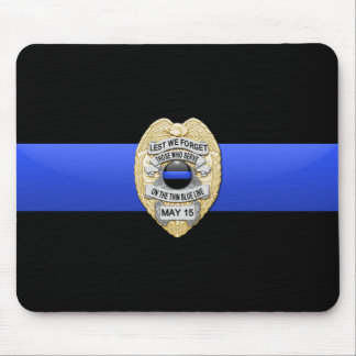 Thin Blue Line Flag & Gold Badge Mouse Pad