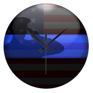 Thin Blue Line - Flag Salute Wallclock
