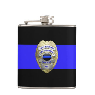 Thin Blue Line Funny Retired Police Badge Hip Flask