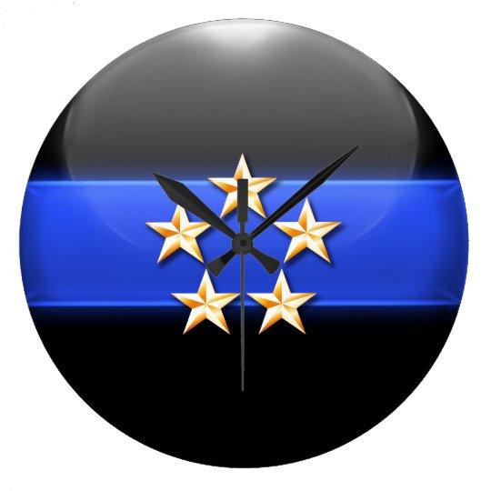 Thin Blue Line - Gold 5-Star Chief Rank Insignia Wallclock