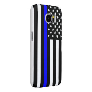 Thin Blue Line Graphic on a US Flag Samsung Galaxy S6 Cases