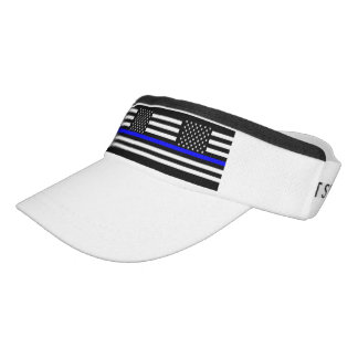 Thin Blue Line Graphic on a US Flag Visor