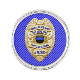 Thin Blue Line - Greater Love Badge Lapel Pin
